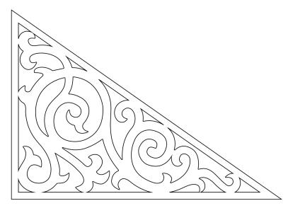 Fyllnadsdekor 001 Gaveldekor Snickarglädje. Köp Snickarglädje och dekoration till verandan, farstukvisten, hela huset och villan. Måttanpassade konsoler, staket och räcken med snickarglädje. Du hittar gammaldags träräcke att köpa, trästaket med detaljer, mönster, ornament, dekoration för huset, snideri, träsnideri och snickarglädje med krusiduller och krumelurer till farstukvist och veranda samt dekor till taket och vindskivorna. Nockdekor och gavelornament. Dekoration till fönster och överliggare med dekorativt fönsterfoder. Prisvärt, svensktillverkat och snabb leverans.