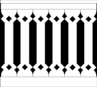 Bilden visar 6 st ribbor tillsamman. Gaveldekor Räcke snickarglädje 015