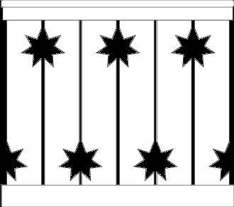 Bilden visar 6 st ribbor tillsamman. Gaveldekor Räcke snickarglädje 016