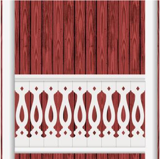 Bilden visar 9 st ribbor tillsammans. Gaveldekor Räcke snickarglädje 046