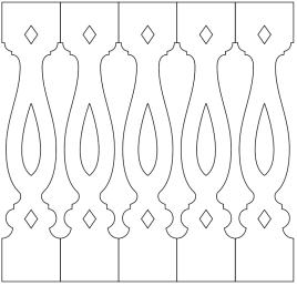 Räcke 046. Köp Snickarglädje och dekoration till verandan, farstukvisten, hela huset och villan. Måttanpassade konsoler, staket och räcken med snickarglädje. Du hittar träräcke, trästaket med detaljer, mönster, ornament, dekoration för huset, snideri, träsnideri och snickarglädje med krusiduller och krumelurer till fastukvisten och verandan samt dekor till taket och vindskivorna. Nockdekor och gavelornament. Dekoration till fönster och överliggare med dekorativt fönsterfoder. Prisvärt, svensktillverkat och snabb leverans.