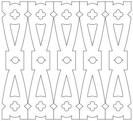 Räcke 047. Köp Snickarglädje och dekoration till verandan, farstukvisten, hela huset och villan. Måttanpassade konsoler, staket och räcken med snickarglädje. Du hittar träräcke, trästaket med detaljer, mönster, ornament, dekoration för huset, snideri, träsnideri och snickarglädje med krusiduller och krumelurer till fastukvisten och verandan samt dekor till taket och vindskivorna. Nockdekor och gavelornament. Dekoration till fönster och överliggare med dekorativt fönsterfoder. Prisvärt, svensktillverkat och snabb leverans.