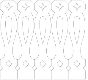 Gaveldekor Räcke snickarglädje 043. Köp Snickarglädje och dekoration till verandan, farstukvisten, hela huset och villan. Måttanpassade konsoler, staket och räcken med snickarglädje. Du hittar gammeldags träräcke, trästaket med detaljer, mönster, ornament, dekoration för huset, snideri, träsnideri och snickarglädje med krusiduller och krumelurer till fastukvisten och verandan samt dekor till taket och vindskivorna. Nockdekor och gavelornament. Dekoration till fönster och överliggare med dekorativt fönsterfoder. Prisvärt, svensktillverkat och snabb leverans.