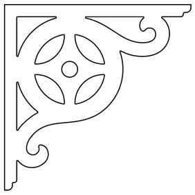 Gaveldekor konsol 089. Köp Snickarglädje och dekoration till verandan, farstukvisten, hela huset och villan. Måttanpassade konsoler, staket och räcken med snickarglädje. Du hittar gammaldags träräcke att köpa, trästaket med detaljer, mönster, ornament, dekoration för huset, snideri, träsnideri och snickarglädje med krusiduller och krumelurer till farstukvist och veranda samt dekor till taket och vindskivorna. Nockdekor och gavelornament. Dekoration till fönster och överliggare med dekorativt fönsterfoder. Prisvärt, svensktillverkat och snabb leverans.