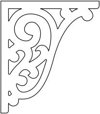 Snickarglädje till ditt hus, här konsol 013 stående från gaveldekor. Köp Snickarglädje och dekoration till verandan, farstukvisten, hela huset och villan. Måttanpassade konsoler, staket och räcken med snickarglädje. Du hittar gammaldags träräcke att köpa, trästaket med detaljer, mönster, ornament, dekoration för huset, snideri, träsnideri och snickarglädje med krusiduller och krumelurer till fastukvist och veranda samt dekor till taket och vindskivorna. Nockdekor och gavelornament. Dekoration till fönster och överliggare med dekorativt fönsterfoder. Prisvärt, svensktillverkat och snabb leverans.
