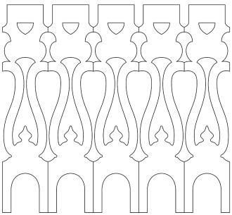 Räcke 001. Ritningen visar 5 st ribbor tillsammans.  Gaveldekor Snickarglädje.