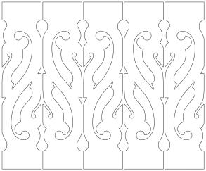 Gaveldekor Räcke snickarglädje 012. Köp Snickarglädje och dekoration till verandan, farstukvisten, hela huset och villan. Måttanpassade konsoler och räcken med snickarglädje. Du hittar träräcke, trästaket med detaljer, mönster, ornamnent, dekoration för huset, snideri, träsnideri och snickarglädje med krusiduller och krumelurer till fastukvisten och verandan samt dekor till taket och vindskivorna. Nockdekor och gavelornament. Dekoration till fönster och överliggare med dekorativt fönsterfoder. Prisvärt, svensktillverkat och snabb leverans.