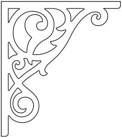 Gaveldekor konsol 018. Köp Snickarglädje och dekoration till verandan, farstukvisten, hela huset och villan. Måttanpassade konsoler, staket och räcken med snickarglädje. Du hittar gammaldags träräcke att köpa, trästaket med detaljer, mönster, ornament, dekoration för huset, snideri, träsnideri och snickarglädje med krusiduller och krumelurer till farstukvist och veranda samt dekor till taket och vindskivorna. Nockdekor och gavelornament. Dekoration till fönster och överliggare med dekorativt fönsterfoder. Prisvärt, svensktillverkat och snabb leverans.