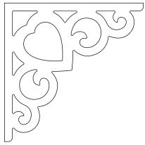 Zierornament 002B. Hier können Sie traditionelle Zierornamente für ihre Giebel, Fenster und Terrassen kaufen. Schwedischer Stil, schwedische Häuser, Villen und Ferienhäuser. Bestellen Sie Ihr eigenes D