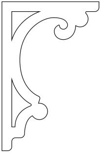 Zierornament 022. Hier können Sie traditionelle Zierornamente für ihre Giebel, Fenster und Terrassen kaufen. Schwedischer Stil, schwedische Häuser, Villen und Ferienhäuser. Bestellen Sie Ihr eigenes D