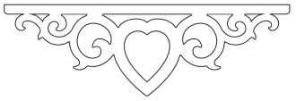 Mittdekor 002. Snickarglädje och dekoration till verandan, farstukvisten, hela huset och villan. Måttanpassade konsoler, staket och räcken med snickarglädje. Du hittar gammaldags träräcke att köpa, trästaket med detaljer, mönster, ornament, dekoration för huset, snideri, träsnideri och snickarglädje med krusiduller och krumelurer till farstukvist och veranda samt dekor till taket och vindskivorna. Nockdekor och gavelornament. Köp dekoration till fönster och överliggare med dekorativt fönsterfoder. Prisvärt, svensktillverkat och snabb leverans.