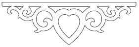 Gaveldekor MIttendekor 002. Köp Snickarglädje och dekoration till verandan, farstukvisten, hela huset och villan. Måttanpassade konsoler, staket och räcken med snickarglädje. Du hittar gammaldags träräcke att köpa, trästaket med detaljer, mönster, ornament, dekoration för huset, snideri, träsnideri och snickarglädje med krusiduller och krumelurer till farstukvist och veranda samt dekor till taket och vindskivorna. Nockdekor och gavelornament. Dekoration till fönster och överliggare med dekorativt fönsterfoder. Prisvärt, svensktillverkat och snabb leverans.