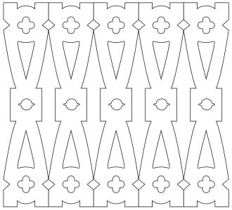 Räcke 047. Ritningen visar 5 st ribbor tillsammans.  Gaveldekor Snickarglädje.