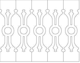 Räcke 002. Ritningen visar 5 st ribbor tillsammans.  Gaveldekor Snickarglädje.
