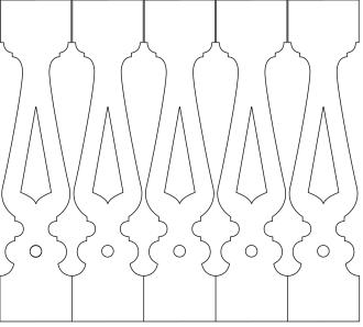Räcke 003. Ritningen visar 5 st ribbor tillsammans.  Gaveldekor Snickarglädje.