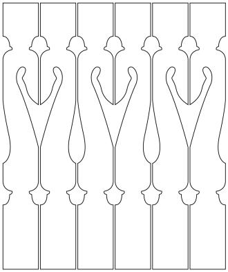 Räcke 006. Ritningen visar 6 st ribbor tillsammans.  Gaveldekor Snickarglädje.