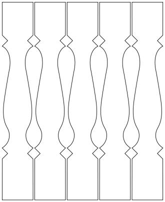 Räcke 008. Ritningen visar 5 st ribbor tillsammans.  Gaveldekor Snickarglädje.