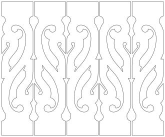 Räcke 012. Ritningen visar 5 st ribbor tillsammans.  Gaveldekor Snickarglädje.
