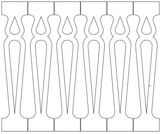 Räcke 014. Ritningen visar 6 st ribbor tillsammans.  Gaveldekor Snickarglädje.