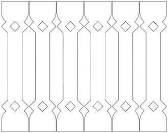 Räcke 015 Ritningen visar 6 st ribbor tillsammans.  Gaveldekor Snickarglädje.