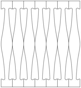 Räcke 018. Ritningen visar 7 st ribbor tillsammans.  Gaveldekor Snickarglädje.