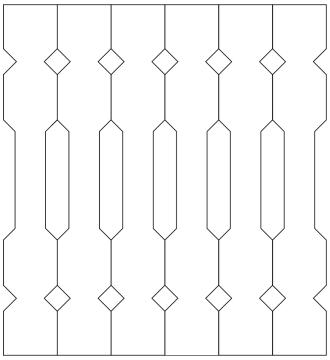 Räcke 019. Ritningen visar 6 st ribbor tillsammans.  Gaveldekor Snickarglädje.