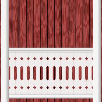 Räcke 019. Ritningen visar 13 st ribbor tillsammans.  Gaveldekor Snickarglädje.