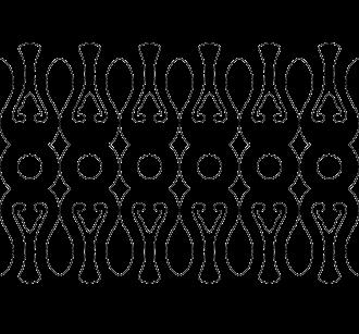 Räcke 030. Ritningen visar 6 st ribbor tillsammans.  Gaveldekor Snickarglädje.