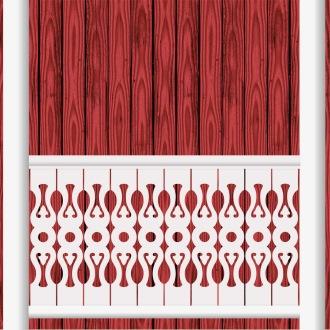 Räcke 030. Ritningen visar 10 st ribbor tillsammans.  Gaveldekor Snickarglädje.