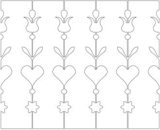 Räcke 042. Ritningen visar 5 st ribbor tillsammans.  Gaveldekor Snickarglädje.