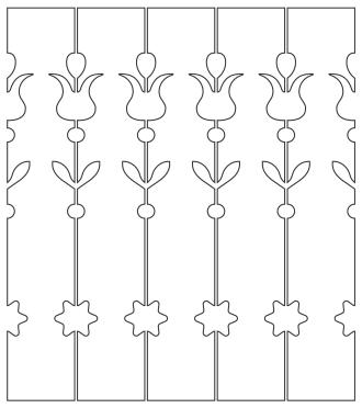 Räcke 044. Ritningen visar 5 st ribbor tillsammans.  Gaveldekor Snickarglädje.