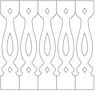 Räcke 046. Ritningen visar 5 st ribbor tillsammans.  Gaveldekor Snickarglädje.