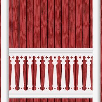 Räcke 040 Ritningen visar 10 st ribbor tillsammans.  Gaveldekor Snickarglädje.