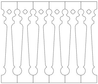 Räcke 040 Ritningen visar 6 st ribbor tillsammans.  Gaveldekor Snickarglädje.