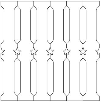 Räcke 088. Ritningen visar 6 st ribbor tillsammans.  Gaveldekor Snickarglädje.