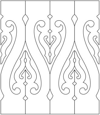 Räcke 025. Ritningen visar 4 st ribbor tillsammans.  Gaveldekor Snickarglädje.