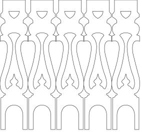 Räcke snickarglädje 001, Köp Snickarglädje och dekoration till verandan, farstukvisten, hela huset och villan. Måttanpassade konsoler och räcken med snickarglädje. Du hittar träräcke, trästaket med detaljer, mönster, ornamnent, dekoration för huset, snideri, träsnideri och snickarglädje med krusiduller och krumelurer till fastukvisten och verandan samt dekor till taket och vindskivorna. Nockdekor och gavelornament. Dekoration till fönster och överliggare med dekorativt fönsterfoder. Prisvärt, svensktillverkat och snabb leverans.