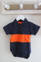 Body Piké kortärm - Marinablå/Orange 44-68cl