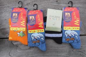 Barnstrumpor 4st/paket Stl.17-19 Flera olika - 17-19 delfin, randig, orange
