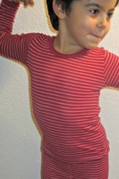 Underställ tröja+långkalsonger BEST cert. merinoull - Röd/Randig - 140cl