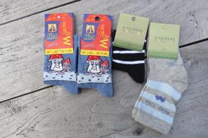 Barnstrumpor 4st/paket Stl.20-23 Olika paket - 20-23 Svampar, bil, svart/rand