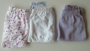 Byxor 3-pack Rosa bubblor/Vit/Lila 50cl - Stl.50 Blöjbyxor 3-pack lila