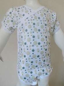 Body - Omlott kortärmad /Gröna bubblor - Stl.70 Omlottbody kortärmad Gröna bubblor