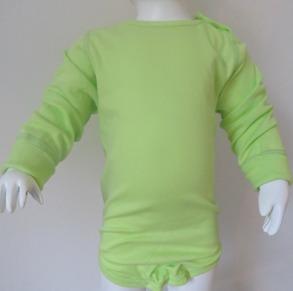 Bodyx2 - Omlott kortärmad /Gröna bubblor + Långärmad Lime - Stl.60 Omlottbody+ lång Lime