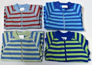 Babypyjamas Zipper - Randiga Blå 50cl - Stl.50 Zipper Randig Ljusblå/Röd/Gul