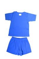 Sommarpyjamas T-shirt + Shorts- Blå eller Lime-80-130cl