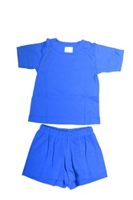 Sommarpyjamas T-shirt + Shorts- Blå eller Lime-80-130cl - Stl.80 Blå