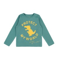 Barn t-shirt - Protect my world - Havsgrön