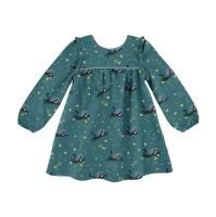Barnklänning rymd-katt blå