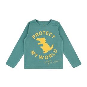 Barn t-shirt - Protect my world - Havsgrön 1-6år - Barntröja havsgrön 12mån (74cl)